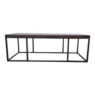 Custom Iron-Base Coffee Table With Walnut Top For Sale