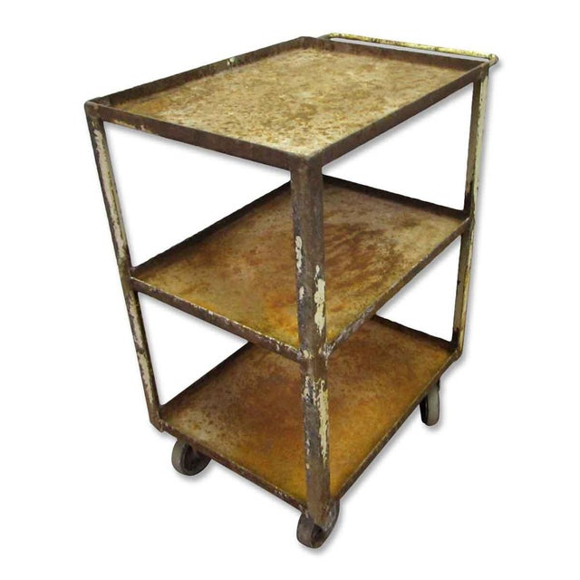 Industrial Rusted Metal Cart For Sale - Image 4 of 6