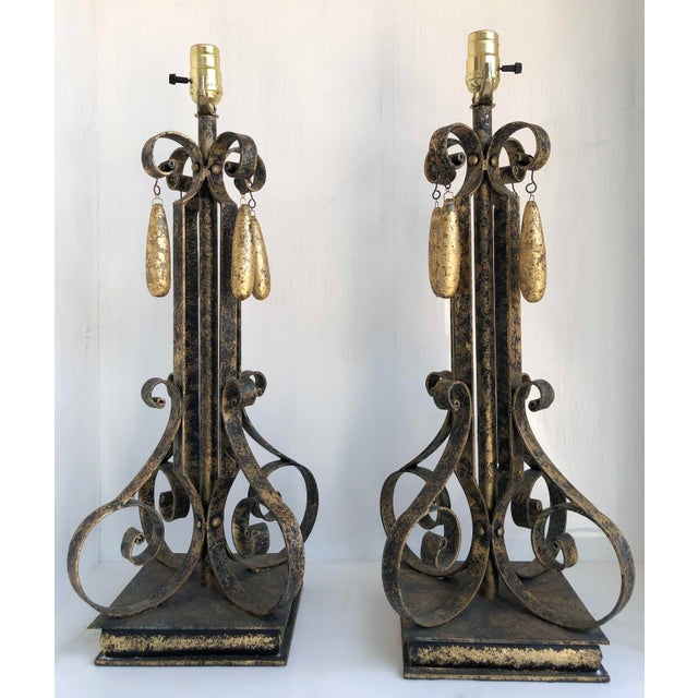 Metal Gold Brushed Metal Lamps With Four Hanging Brushed Gold Fobs - a Pair For Sale - Image 7 of 8