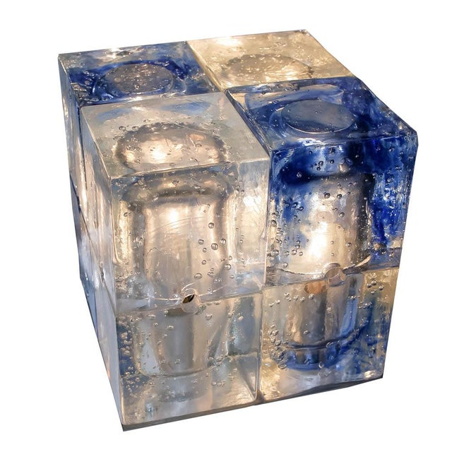 1960s Italian Glass Cube Light by Poliarte For Sale - Image 5 of 6