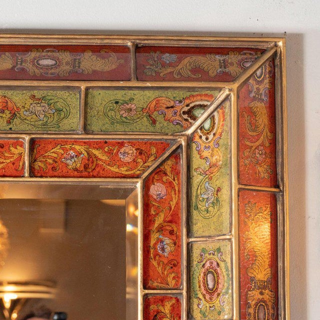 This refined and sophisticated shadowbox mirror was realized in Venice, Italy, circa 1950. The piece offers a mosaic of...