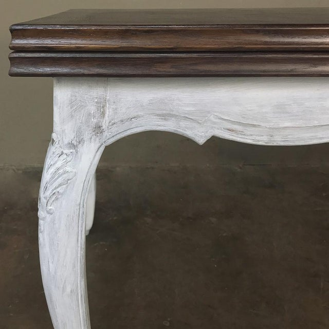 Antique Country French Draw Leaf Painted/Stained Dining Table For Sale - Image 9 of 12