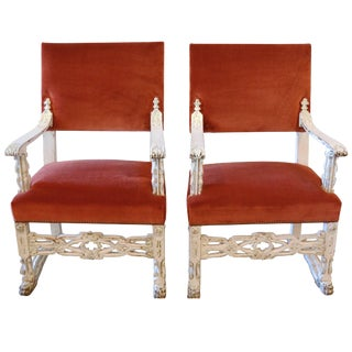 Neo-Gothic White Carved Armchairs, Pair For Sale