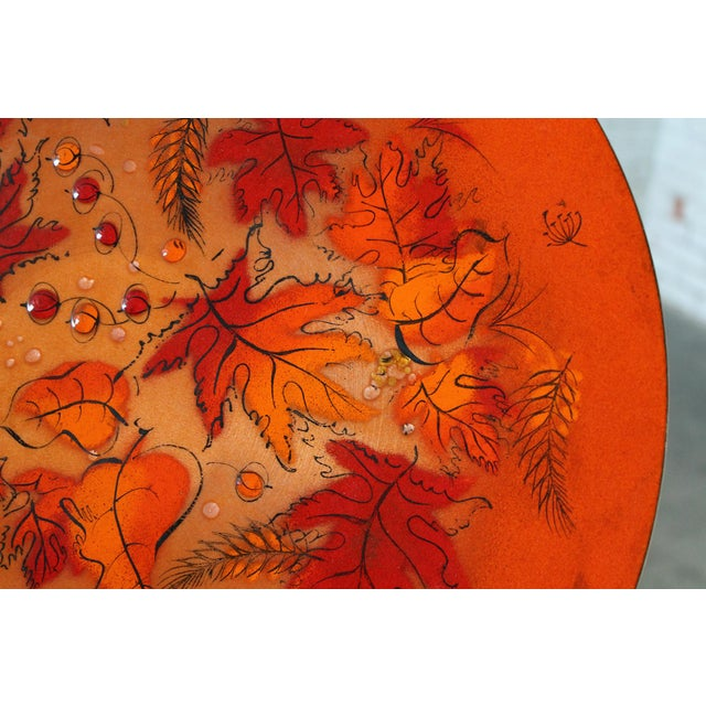 Sascha Brastoff Mid-Century Orange Leaves Enamel Charger - Image 8 of 11