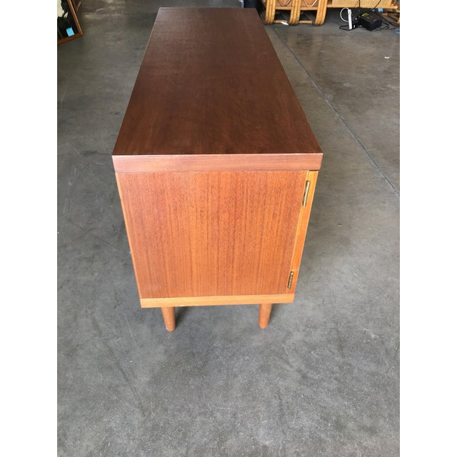 Wood Danish Modern Rose Stained Credenza Cabinet W/ Sculpted Pig Nose Pulls For Sale - Image 7 of 8