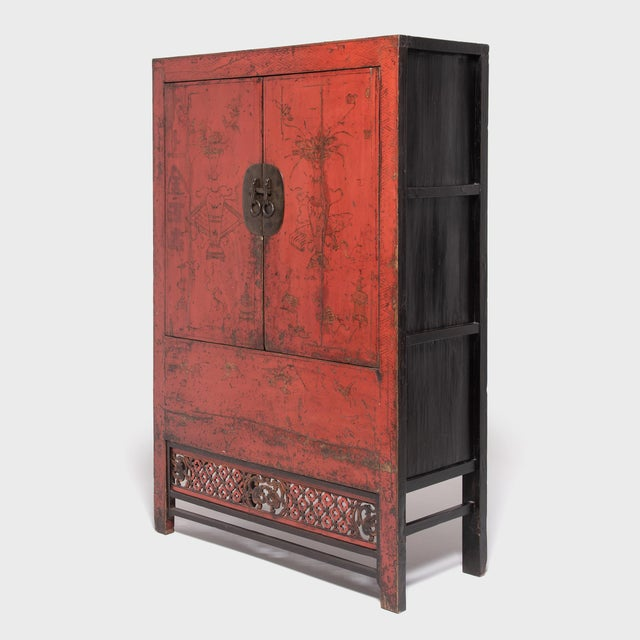 Asian 19th Century Chinese Gilt Red Lacquered Cabinet For Sale - Image 3 of 10