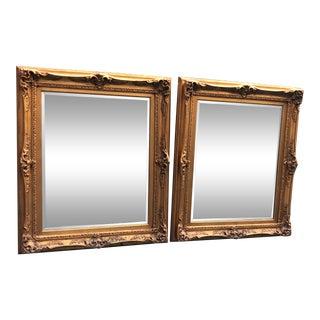 Ornate Gold Gilt Wall Mirrors - a Pair