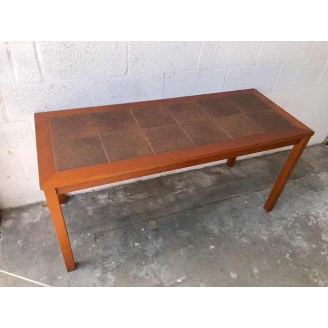 Vintage Mid Century Danish Modern Tile Top Console/ Entry Table For Sale - Image 13 of 13