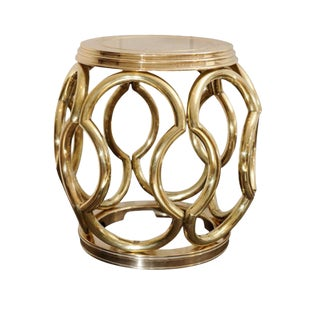 1970's Mid Century Modern Maitland Smith Sculptural Brass Lattice Garden Stool For Sale