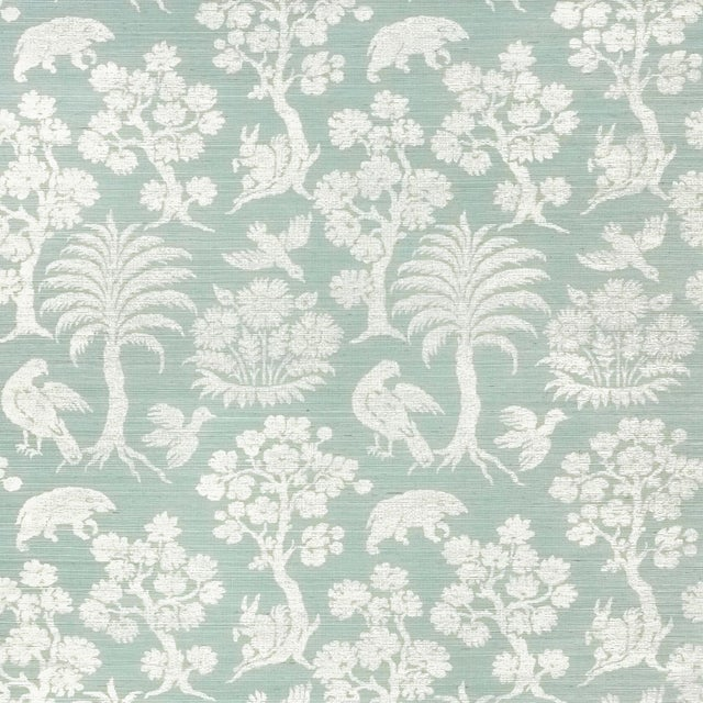 Contemporary Schumacher Woodland Silhouette Sisal Wallpaper in Sky For Sale - Image 3 of 3