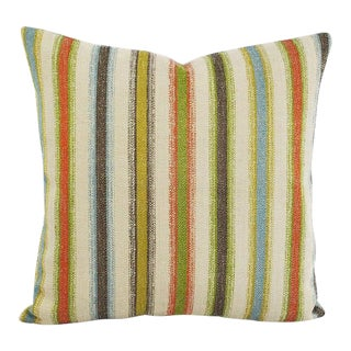 "Boho Chic Pierre Frey Papou in Tropical Pillow Cover - 20"" X 20"" Multi Stripe Jacquard Accent Pillow Case For Sale"