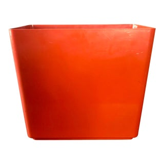 1970's Pop Art Orange Plastic Wastebasket For Sale