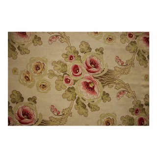 French Art Nouveau Floral Printed Cotton Fabric For Sale