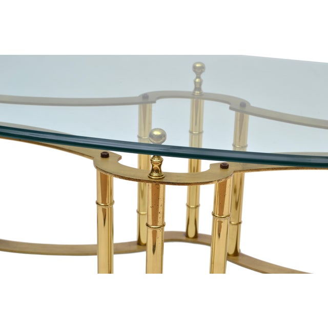1970s Mastercraft Brass Coffee Table with Oval Glass Top For Sale - Image 5 of 10
