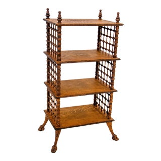 Vintage Oak Stick and Ball Fretwork Shelving Unit For Sale