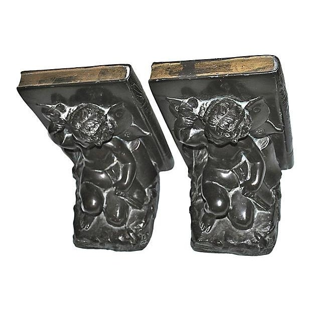 1920s Ronson Cherub and Butterfly Bookends - Pair For Sale - Image 3 of 7