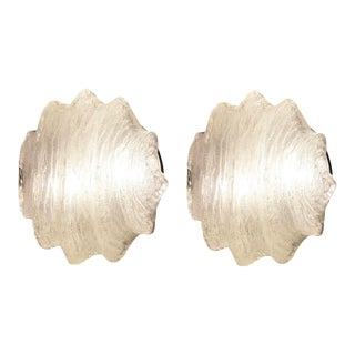 Star Shaped Murano Glass Flush Mounts or Sconces - a Pair For Sale