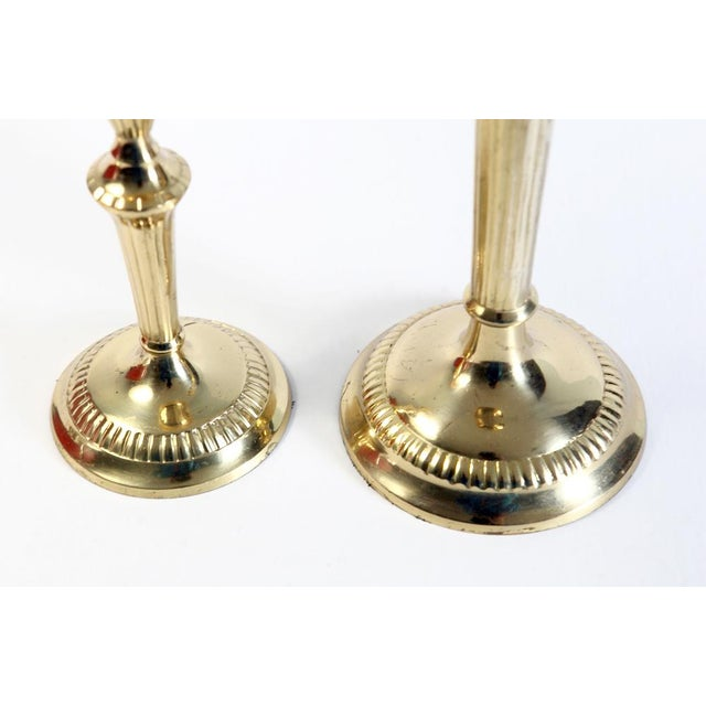 Traditional Scalloped Brass Candle Holders - A Pair For Sale - Image 3 of 6
