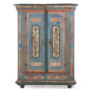 "18th Century German Bavarian Blue Painted Antique ""Kas"" Armoire Cabinet Preview"