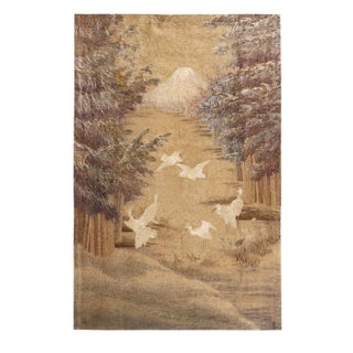 Antique Japanese Beige and Off-White Silk Tapestry With Crane Depictions For Sale
