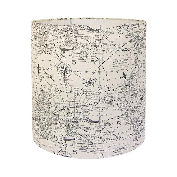 New, Made to Order, Large Drum Lamp Shade, Air Traffic Maps Fabric in Gray and Off-White For Sale