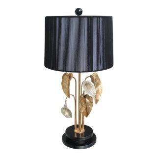 1970s Vintage Chrystiane Charles Nenuphar Bronze Water Lillies Gilt Bronze Table Lamp For Sale