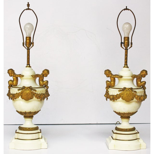 Louis XVI Pair of Louis XVI Style Marble and Gilt Bronze Lamps For Sale - Image 3 of 5