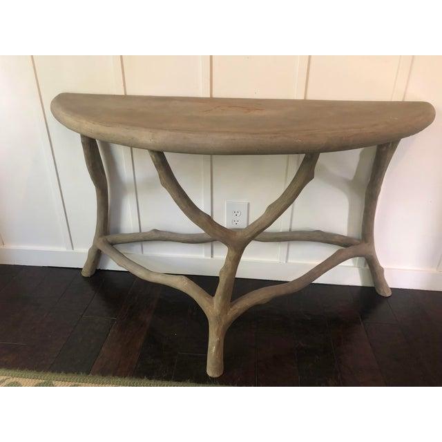 Modern Cast Stone Concrete Faux Bois Demilune Console Table For Sale - Image 9 of 9