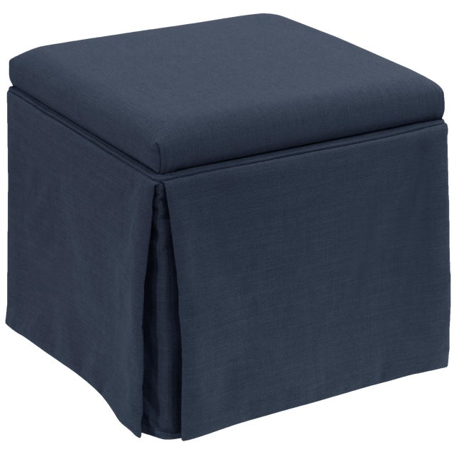 Skirted Storage Ottoman in Linen Navy For Sale In Chicago - Image 6 of 7