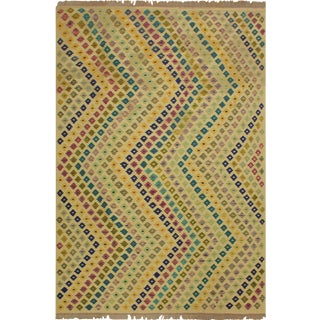 Renay Ivory/Blue Hand-Woven Kilim Wool Rug -6'7 X 9'9 For Sale