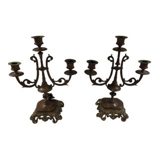 Early 20th Century Vintagerm Brass Candleholders - a Pair For Sale