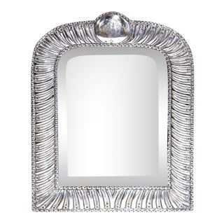 19th Century French Repousse Silver Table Frame With Beveled Glass For Sale