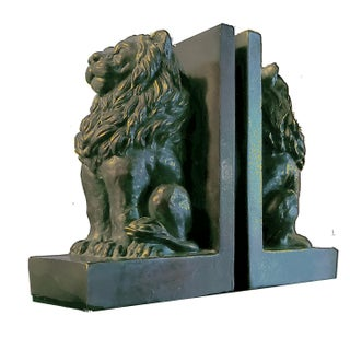 Vintage Bronze Toned Resin Stately Lions Poised en Guard as Bookends - a Pair Preview