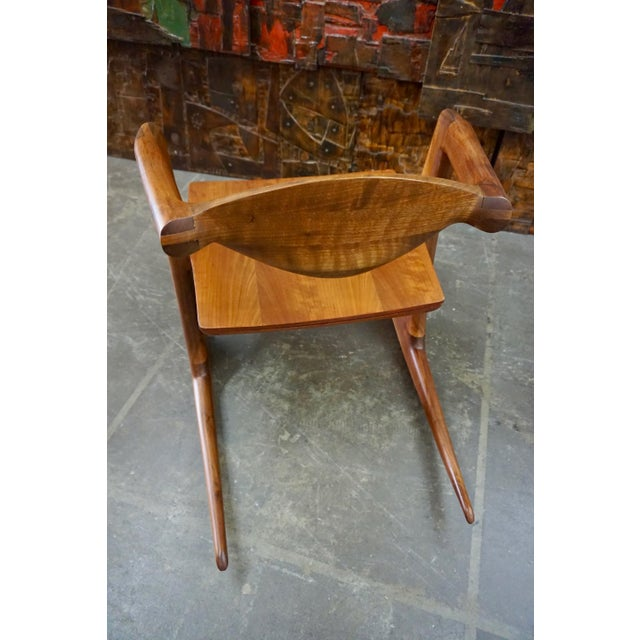 Mid-Century Modern Hand Crafted Walnut Rocking Chair For Sale - Image 3 of 7