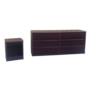Modern Danish Cherrywood Lowboy Dresser and Nightstand For Sale