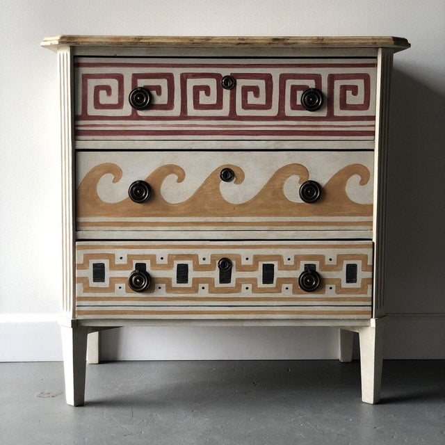 """Pair of Gusto Painted Swedish Chest. Inspired by Villa Kerylos in Beaulieu-sur-Mer, France. Height: 35"""" Width: 34"""" Depth: 19"""""""