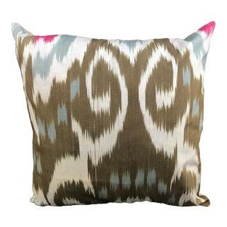 Contemporary Ikat Decorative Pillow For Sale