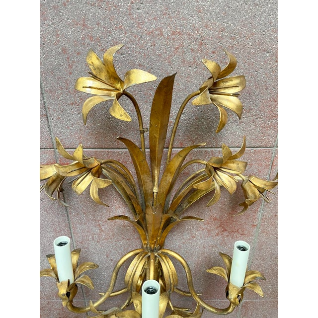 Italian Mid Century Hollywood Regency Gilt Toleware Floral Sconces - a Pair For Sale In Minneapolis - Image 6 of 13
