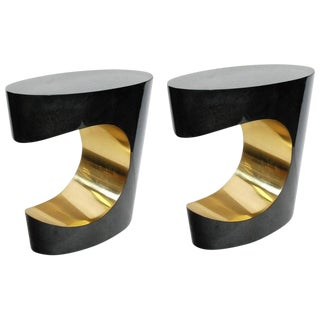 Mid-Century Modern Parchment and Brass Side Tables - a Pair For Sale