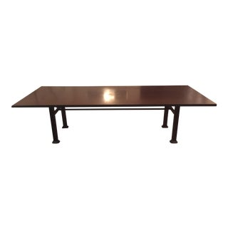 Industrial Steel & Cast Iron Dining Table For Sale