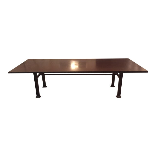 Industrial Steel & Cast Iron Dining Table - Image 1 of 5