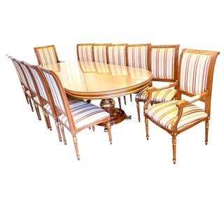 Antique Angelo Cappellini Walnut Dining Table Set For Sale