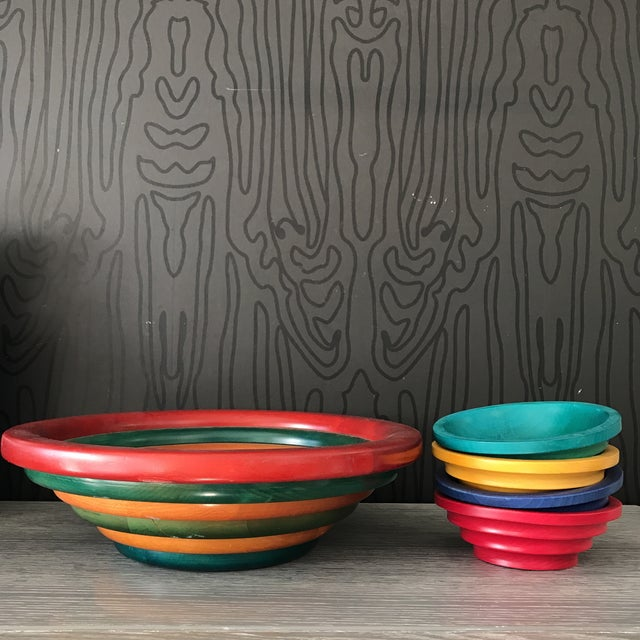 This is a very large multi-colored banded RARE bowl designed by Manzoni Pietro for Vietri. With its bright colors and...