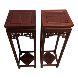 Asian Rosewood Plant Stands - a Pair For Sale