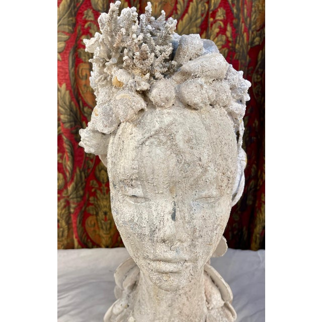 "Shell 1990s ""Sea Queen"" Woman Bust Sea Shell Sculpture For Sale - Image 7 of 11"