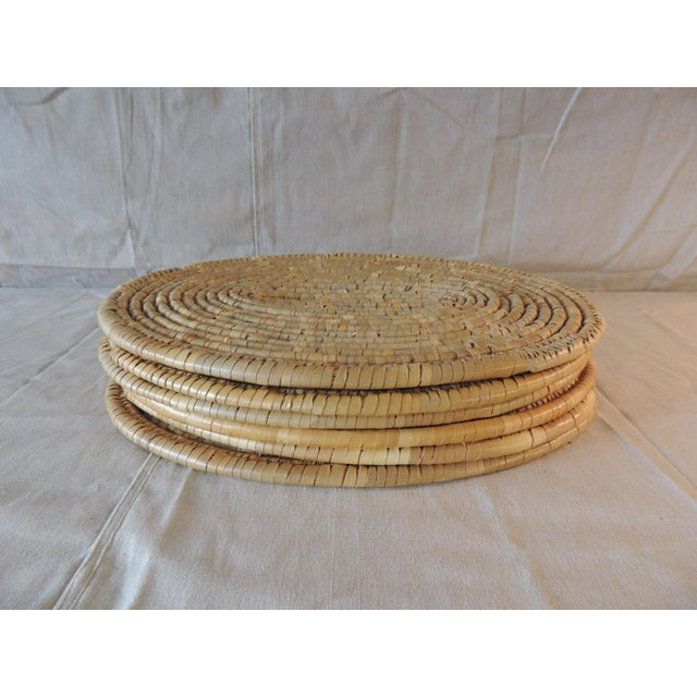 Textile Set of (6) Oval Woven Abaca Placemats For Sale - Image 7 of 9