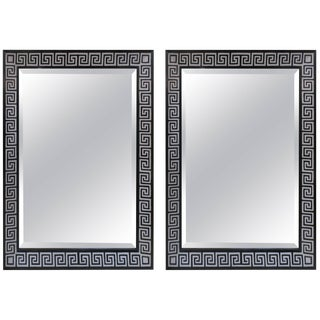 Bespoke Hand-Decorated Greek Key Pattern Mirrors - a Pair For Sale