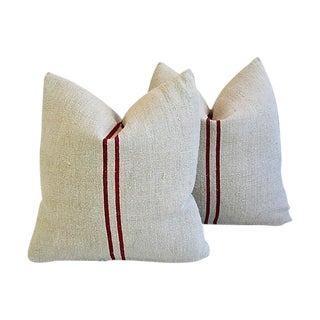 "Maroon French Grain Sack Feather/Down Pillows 21"" x 21"" - Pair"