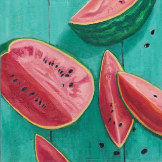 "Original ""Watermelon Seeds"" Oil Painting on Linen Canvas by Sophie Hoad Halma - 8 X 8"" For Sale"