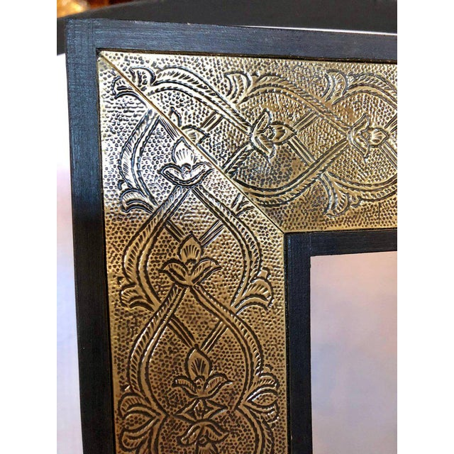 2010s Hollywood Regency Style Gold Brass Morrocan Mirrors - a Pair For Sale - Image 5 of 9